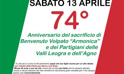 """74esimo anniversario del sacrificio di Benvenuto Volpato """"Armonica"""" e dei partigiani"""