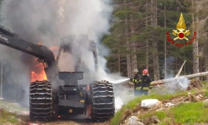 Macchina per esbosco va a fuoco in Malga Buson