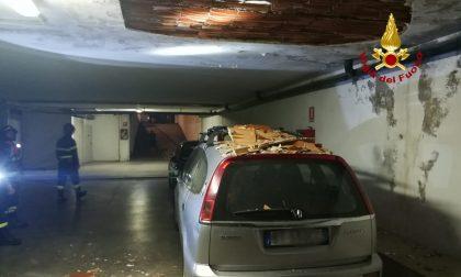 Distacco di parte del soffitto di un'autorimessa a Vicenza