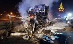 Inferno nella notte sull'autostrada A4, un morto e due feriti