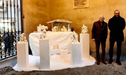 Nel cortile di palazzo Trissino un presepe in terracotta smaltata dello scultore Marzari