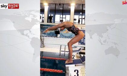 Federica Pellegrini torna in piscina a Verona ad allenarsi VIDEO