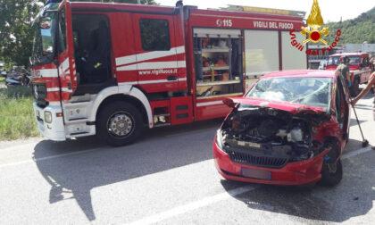 Frontale tra un'utilitaria e un camion, ferita un'anziana